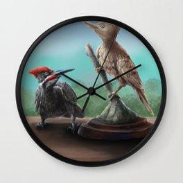 Wooden Woodpecker Wall Clock