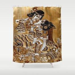 Indian God Radha Krishna Shower Curtain