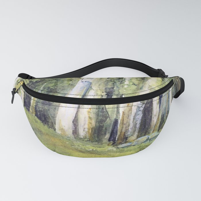 Woodland Landscape Watercolor Vermont Painting Birch Trees Spring Fields Fanny Pack