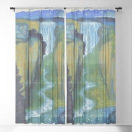Floral Garden Landscape with Waterfall by Franz von Stuck Sheer Curtain
