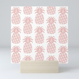 Retro Mid Century Modern Pineapple Pattern Dusty Rose Mini Art Print