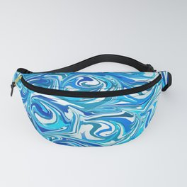 Aqua Blue Swirling Water Abstract Fanny Pack