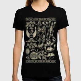 African Senufo Korhogo Tribal Ethnic Art Seamless Pattern T-shirt
