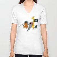 bathroom V-neck T-shirts featuring Everybody wants to be the pirate by Picomodi