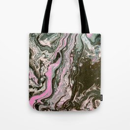 Fluid Art Acrylic Painting, Pour 34, Black, Gray, Pink & White Blended Color Tote Bag