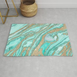 Gold Sequin Glitter Teal Smoky Marble Rug