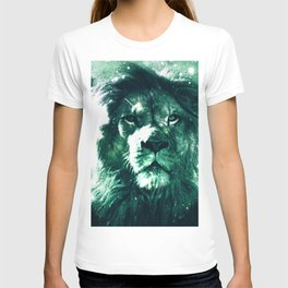 Galaxy Lion Mint Emerald Green T-shirt
