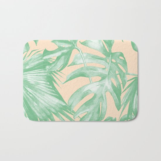 Tropical Leaves Palm Green on Citrus Bath Mat