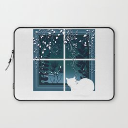 White Kitty Cat Window Watcher Laptop Sleeve