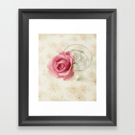 Vintage Textured Rose  Framed Art Print