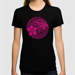 Polynesian Pink and Black Floral Tattoo T-shirt