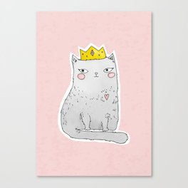 Cute cat with crown pink background Canvas Print