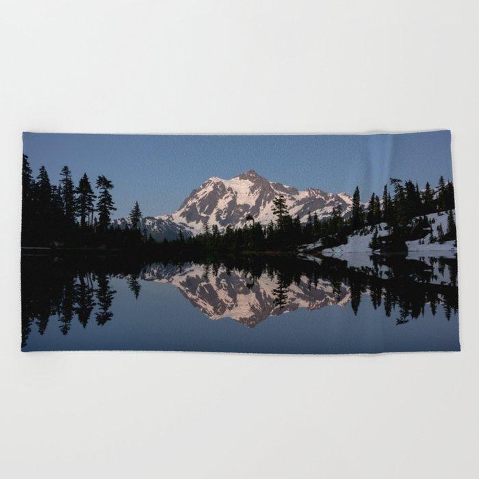 Mt. Shuksan - Blue Hour Reflection Beach Towel