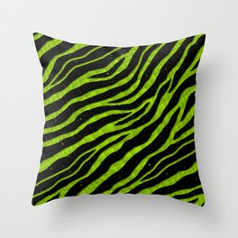 Ripped SpaceTime Stripes - Lime Throw Pillow