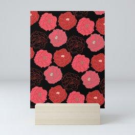 Bold Poppy Scatter Pattern on Black Mini Art Print