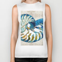 Beachy Art - Nautilus Shell Bleu - Sharon Cummings Biker Tank
