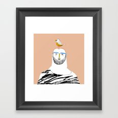 Man beard and bird Framed Art Print