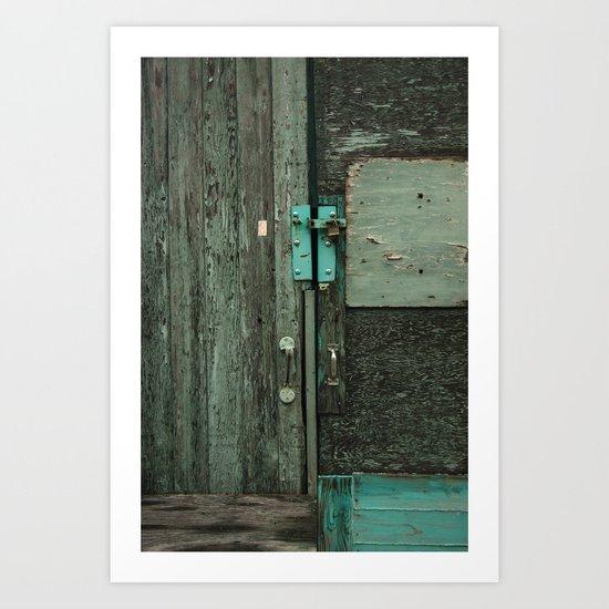 Teal door  Art Print