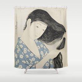 Hashiguchi Goyo: Woman Combing Her Hair Japanese Woodblock Print Blue Floral Kimono Black Hair Shower Curtain