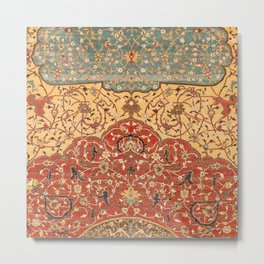Flowery Vines I // 16th Century Contemporary Red Blue Yellow Colorful Ornate Accent Rug Pattern Metal Print