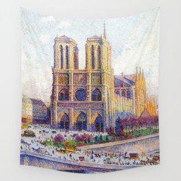 Quai Saint-Michel and Notre-Dame Paris landscape painting by Maximilien Luce Wall Tapestry
