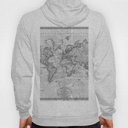 Black and White World Map (1801) Hoody