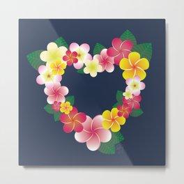 Plumeria Heart Wreath Metal Print
