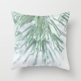 Icy Pine Needles Throw Pillow
