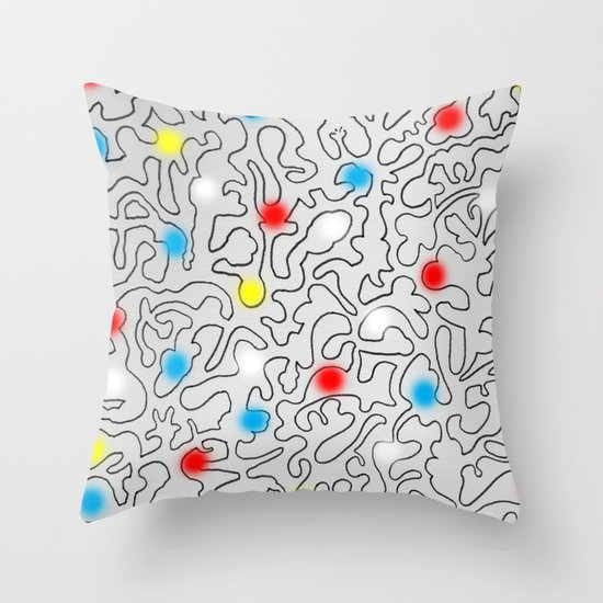 Puzzle with Spraypaint - Primary Colors Throw Pillow by The Information Society6