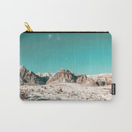 Vintage Picture Desert Snow // Winter Teal Blue Sky Red Rock Canyon Wilderness Park Photograph Carry-All Pouch