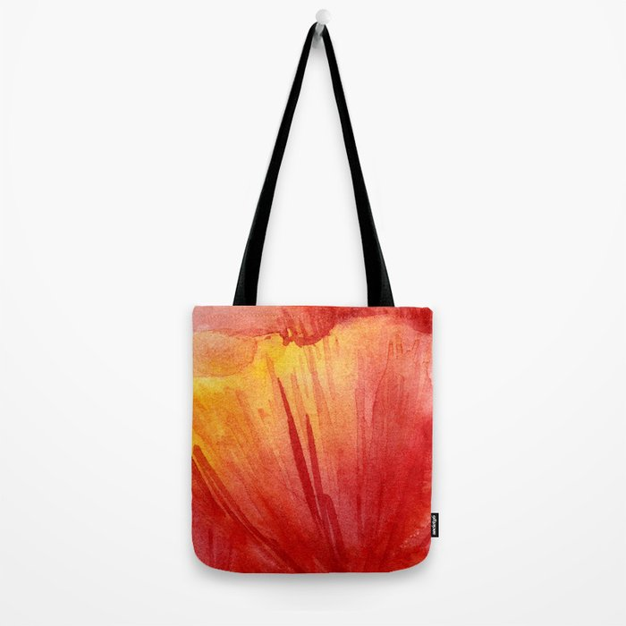 Red Orange Abstract Watercolor Texture, Poppy Flower Tote Bag