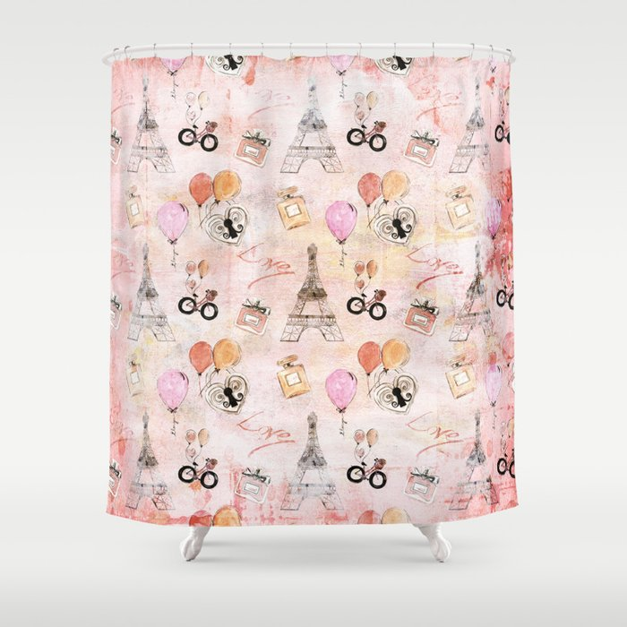 paris love valentine vintage eiffeltower perfume pattern in pink shower curtain