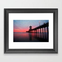 Christmas Sunset 2012 ~ Huntington Beach Pier, CA Framed Art Print