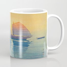 Sailing Boats, Morning Hiroshi Yoshida Modern Japanese Woodblock Print Coffee Mug