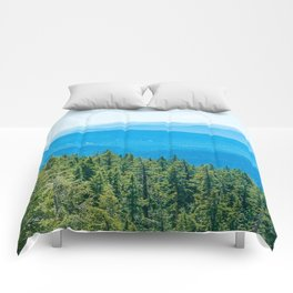 Artistic Brush // Grainy Scenic View of Rolling Hills Mountains Forest Landscape Photography Comforters