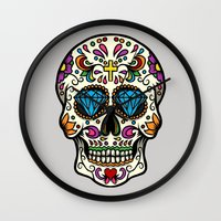 mexican Wall Clocks featuring Mexican Skull by Pancho the Macho