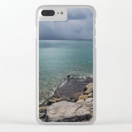 Stormy day at the beach Clear iPhone Case