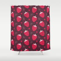 nutella Shower Curtains featuring STRAWBERRIES AND CHOCOLATE by Daisy Beatrice