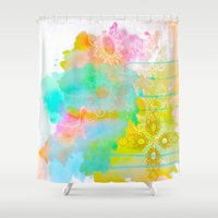 water color Shower Curtains featuring Water Color by Madi Es