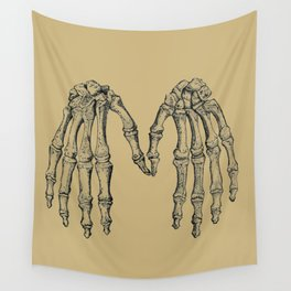 Antique Skeleton Hands Pointillism Drawing Wall Tapestry