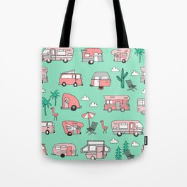 Camper summer vacation tropical pattern RV van life print by andrea lauren Tote Bag
