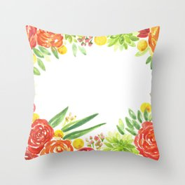 Flowers & Succulents Throw Pillow