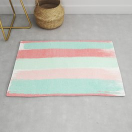 Painterly Stripes abstract trendy colors gender neutral seaside coral tropical minimal Rug