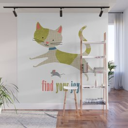 Find Your Joy Cat and Mouse Wall Mural