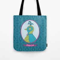 abigail larson Tote Bags featuring Ms. Abigail Quail by ABamber