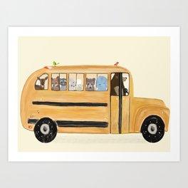 little yellow bus Art Print