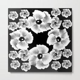 TROPICAL HIBISCUS FLOWERS IN BLACK & WHITE Metal Print