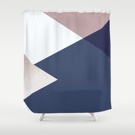 Geometrics - blush indigo rose gold Shower Curtain
