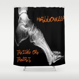 skeleton foot for halloween - scarry,candy, orange,black, trick or treat, fun, jack o lantern, bones Shower Curtain