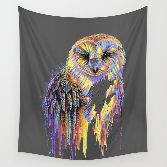 Colorful Owl Dark Background Wall Tapestry